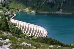 Reservatório Lago di Fedaia Foto de Stock