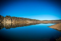 Reservatórios em período da seca na Espanha de Zamora foto de stock