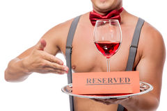 Reservation glass of red wine Royalty Free Stock Image