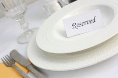 Reservation at a restaurant Stock Images