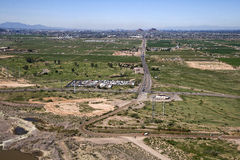 Reservation Route. Aerial view of State Route 87 looking West at McDowell Road through the reservation into Phoenix Stock Photography
