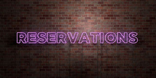 RESERVATIONS - fluorescent Neon tube Sign on brickwork - Front view - 3D rendered royalty free stock picture. Can be used for online banner ads and direct Stock Photography