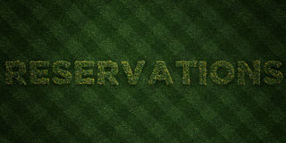 RESERVATIONS - fresh Grass letters with flowers and dandelions - 3D rendered royalty free stock image. Can be used for online banner ads and direct mailers Stock Photos