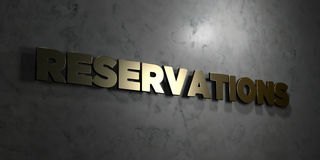 Reservations - Gold text on black background - 3D rendered royalty free stock picture. This image can be used for an online website banner ad or a print Stock Photo