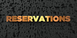 Reservations - Gold text on black background - 3D rendered royalty free stock picture. This image can be used for an online website banner ad or a print Stock Photography