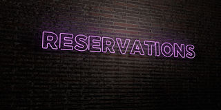 RESERVATIONS -Realistic Neon Sign on Brick Wall background - 3D rendered royalty free stock image. Can be used for online banner ads and direct mailers Royalty Free Stock Photo