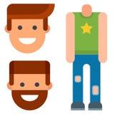 Reservdelar för skapelse för tecken för tecknad film för vektor för skapare för avatar för mankonstruktörkropp avvarar animering royaltyfri illustrationer