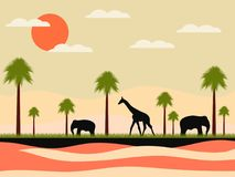 Reserve, africa landscape with animals. Giraffe and elephants, palms. Wild nature. Vector. Illustration Stock Photos