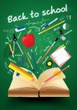 Libro del vector con de nuevo a concepto creativo de la escuela stock de ilustración