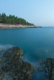 Reserve Kamenjak Rocky coast after sea sunset Royalty Free Stock Image