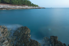 Reserve Kamenjak rocky coast after sea sunset Stock Images