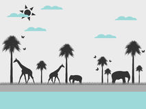 Reserve, landscape with animals, environment day. Vector. Stock Photography