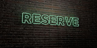RESERVE -Realistic Neon Sign on Brick Wall background - 3D rendered royalty free stock image. Can be used for online banner ads and direct mailers vector illustration