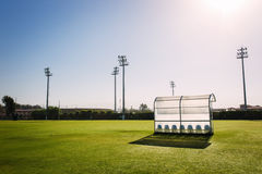Reserve and staff bench. In sport stadium Stock Image