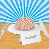 Reserved brain lies on a plate. Employer checks how smart is your brain Vector Illustration