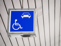 Reserved car park for handicapped person Stock Photos