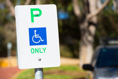 Reserved car parking sign outdoor for disabled Stock Photography