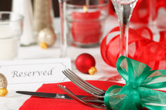 Reserved Christmas Restaurant Table Stock Image