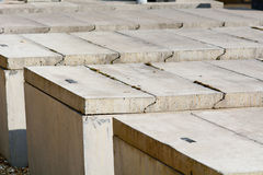 Reserved concrete tombs with slabs. In cemetery Royalty Free Stock Photo