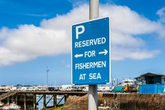 Reserved for Fishermen at Sea Parking Sign in Saint Peter Port Guernsey Royalty Free Stock Images