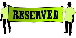 RESERVED on a green banner carried by two men. Illustration graphic Royalty Free Stock Images
