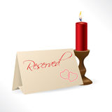 Reserved note with hearts and candle Royalty Free Stock Photo