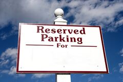 Free RESERVED PARKING FOR  Sign With Copy Space Stock Photos - 194306933