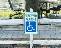 Reserved parking for handicapped sign stock photo