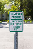 Reserved parking sign with clipping path. Sign stating parking is reserved for fuel efficient vehicles Royalty Free Stock Images