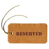 Reserved Royalty Free Stock Photography