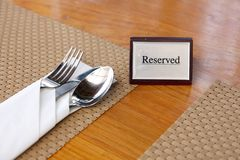 Reserved restaurant table Royalty Free Stock Photo