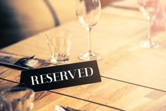 Reserved Restaurant Table Stock Photos