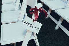 Reserved seating at a wedding Stock Photo