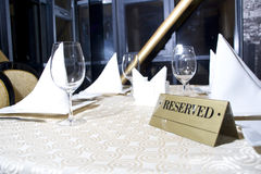 Reserved sign. On the table in restaurant stock images