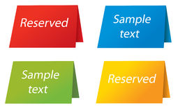 Reserved sign. Reserved or sample text colored sign in four version vector illustration