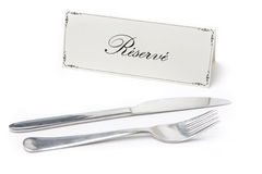 Reserved sign with fork and knife Royalty Free Stock Image
