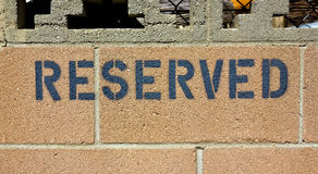 Reserved Sign Royalty Free Stock Photography