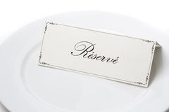 Reserved sign in french on plate Royalty Free Stock Photos