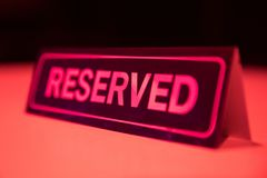 Reserved Sign. At night scene royalty free stock photos