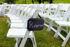 Reserved Sign at Outdoor Wedding Stock Image