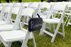 Reserved Sign at Outdoor Wedding Royalty Free Stock Photos