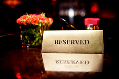 Reserved sign in restaurant Royalty Free Stock Photo