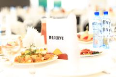 Reserved sign on a restaurant Royalty Free Stock Photos