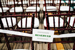 Reserved sign with seats Stock Photos