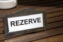 Reserved Sign on Table Royalty Free Stock Image