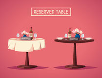 Reserved sign on the table in restaurant. Cartoon vector illustration Royalty Free Stock Image