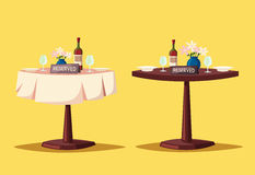 Reserved sign on the table in restaurant. Cartoon vector illustration Stock Photo