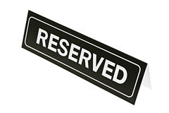 Reserved sign on white Royalty Free Stock Photography