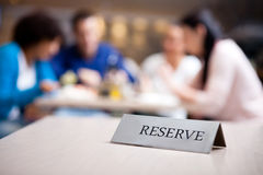 Reserved table at nice restaurant Stock Image