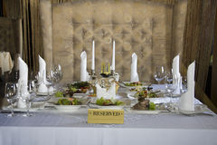 Reserved table in restaurant Royalty Free Stock Image